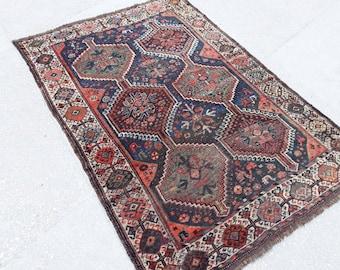 "Turkish Oushak Rug,Anatolian Carpet,Turkish Rug,Tribal Rug Large,Anatolian Rug,Bohemian Rug,Old Carpet,Faded kazak Rug Vintage 6'5""x4'5""ft"