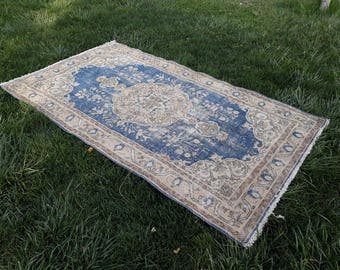 "Turkish Vintage Oushak Rug 6'7"" x 3'7"" ft/ 206 x 115 cm"
