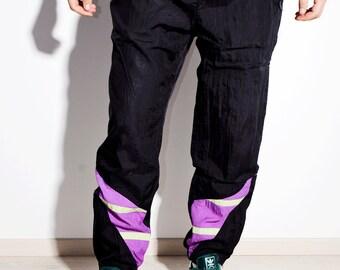 854f66d60dd 90s vintage festival black shell pants nylon