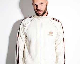 Adidas Originals Vintage Elfenbein weiß Creme Klassiker Jacke   Alte Schule  90er Stil Sport Jacke Activewear Sportbekleidung für Männer   Größe XL b31f29e73b