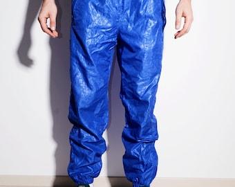 e3e8d16803b5 80s vintage mens blue shell pants nylon   90s Old school festival rave  summer retro style track sport windbreaker trousers   Size - Small