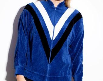 77d566b283da0 80's velvet track jacket in blue | Old School vintage 90's sport tracksuit  top full zip jacket | Size – XS