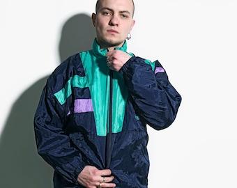 Lightweight neon nylon sport track hooded windbreaker Crazy 90s retro shell tracksuit top L 80s vintage multi colour block jacket blue