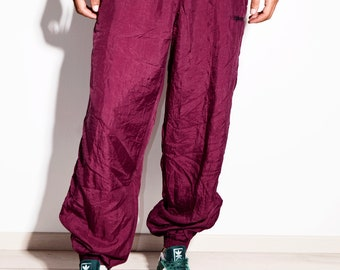 14d1e8ce908b 80s vintage mens festival maroon color nylon shell pants   Old school 90s  style rave track sport windbreaker wind jogger trousers   Size XXL