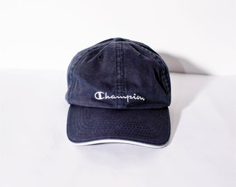 d43970ec049dd CHAMPION vintage blue baseball cap with embroidery white logo