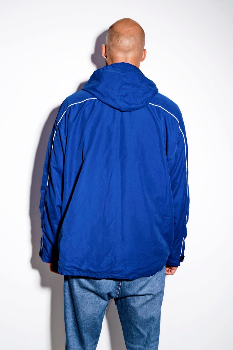 UMBRO lightweight windbreaker men blue hooded 90s active outerwear Fall autumn oversized shell sport jacket parka windbreaker coat XL