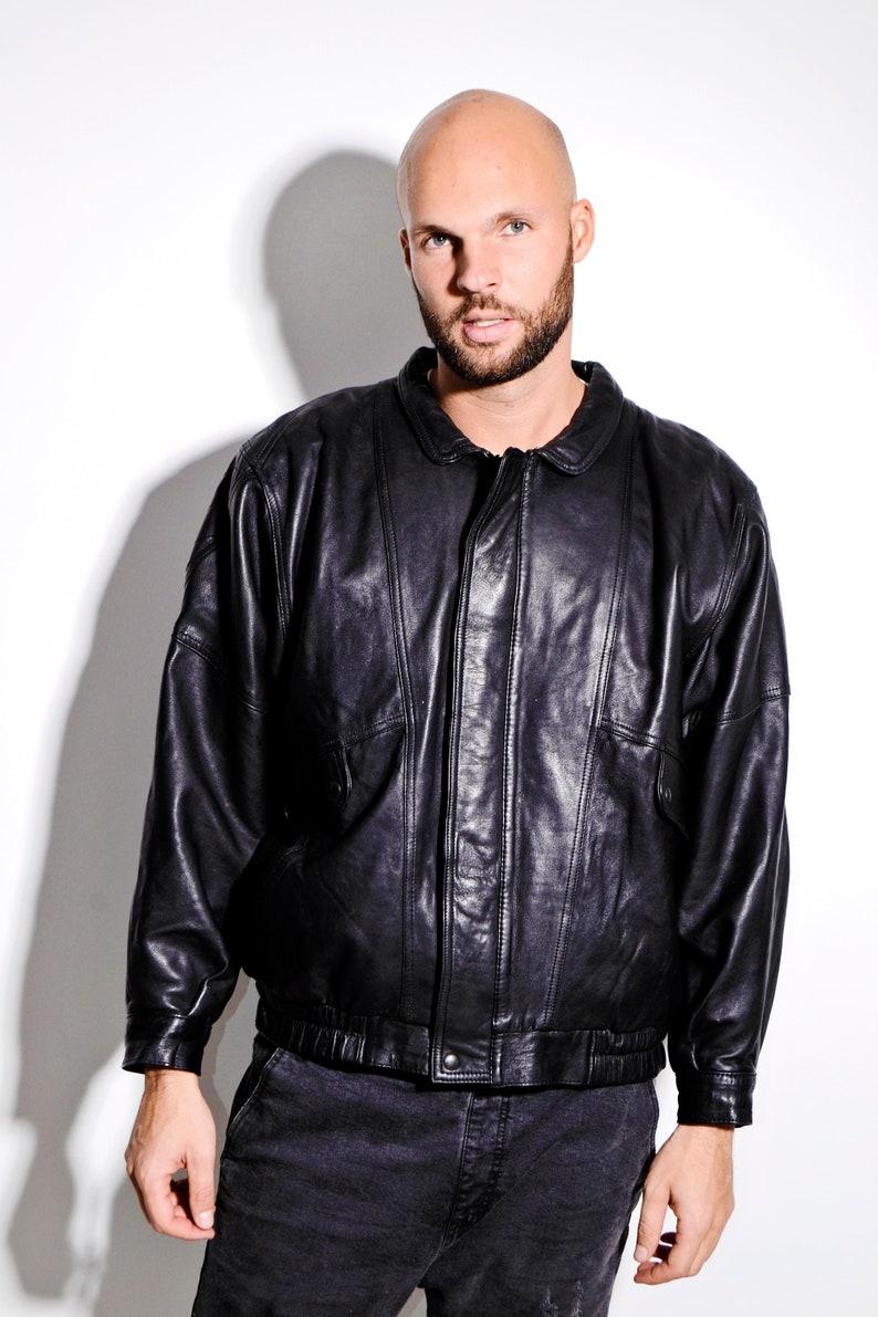 Size 80/'s vintage black genuine leather jacket for men LargeXL Old School retro biker motorcycle outerwear street wear