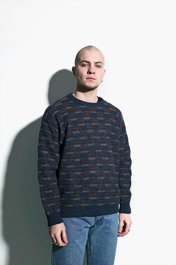 Vintage Patterned Fleece Sweater Southwestern Aztec Sweater Oversized Comfy Sweater Boyfriend Gift 90s Men Fleece Jumper size Large L
