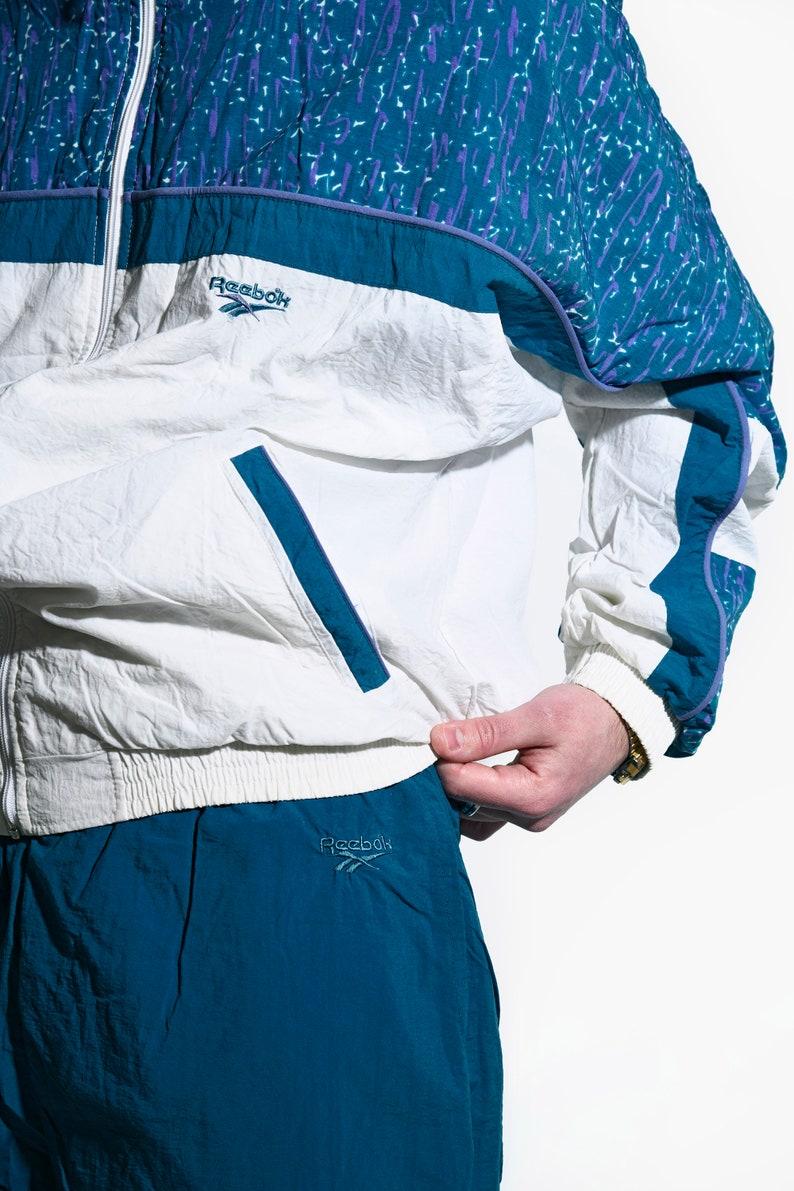REEBOK vintage tracksuit set blue colour Large L 80s active sports wear Old School 90s era rave nylon wind shell suit top and bottom