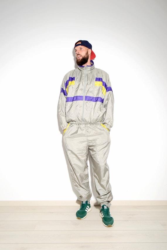 school 90's vintage grey tracksuit Windbreaker Nylon shell Neon Old festival race style streetwear 90s sports men's suit vintage zYrw5rfnRq