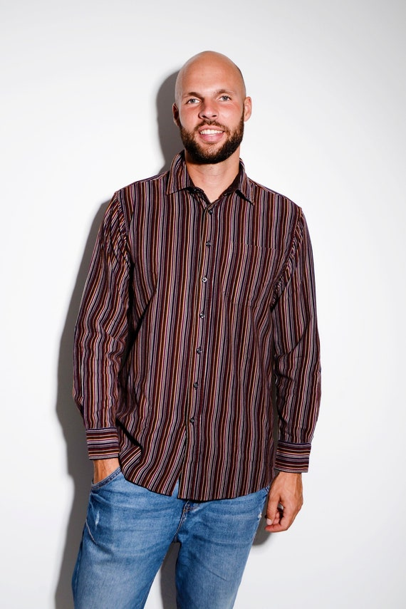 Retro corduroy long sleeve shirt in stripes for me