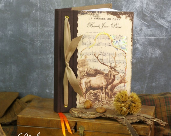 "Deer hunting custom ""Deer and her deer"" notebook Huntress Hunter hunting wood hunting hunting Christmas gift"