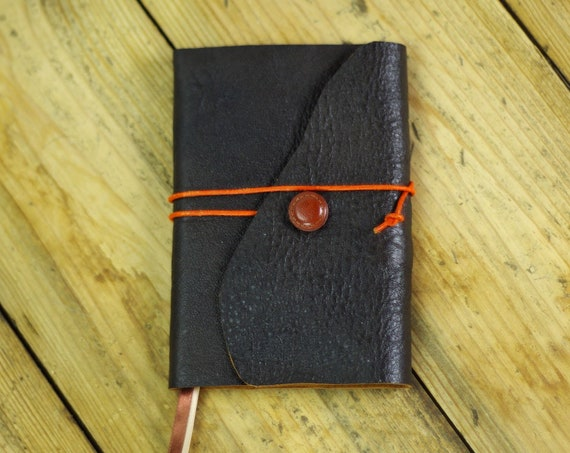 Small pocket notebook with leather hunting fishing man gift Valentine's day gift