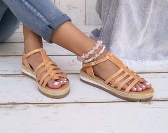 753df7bc9 CANDY Espadrilles/ natural Edition.Greek leather sandals.Ancient Greek  sandals.Platform sandals.