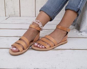 f312a54a999d Venus sandals Greek leather sandals Slip on flat sandals Open toe gladiator  leather sandals Handmade in Greece Natural strappy sandals.