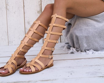 5c1e814016d1 NICKY gladiator sandals knee high boots from full grain leather ancient  greek sandals lace up sandals spartan sandals handmade in Greece.