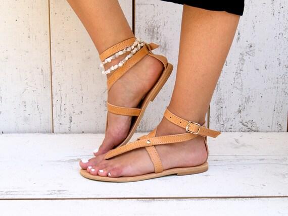 sandals sandales cuir AGNETE grec cuff antique sandales cuir en naturel cheville main appartements grecques thong Sandales sandales grec fgUnqwAAB