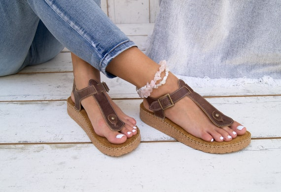 Faible sandales plateforme sandales/slip femmes femmes femmes cuir grec sur marche sandales chaussures/confortables chaussures d'été. f13070