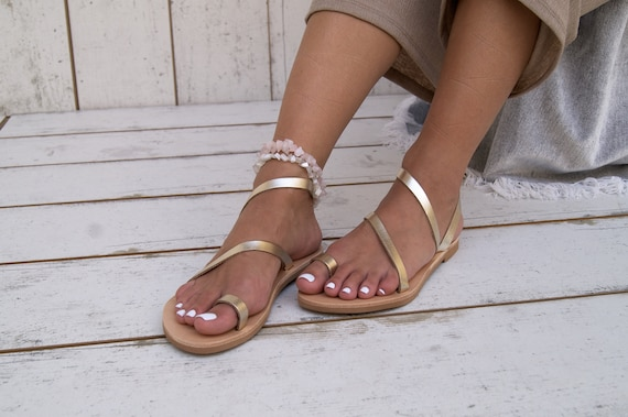 gold handmade sandals sandals leather toe ALESSA classic sandals sandals sandals ancient leather ring strappy sandals Greek Hq7xw70vP