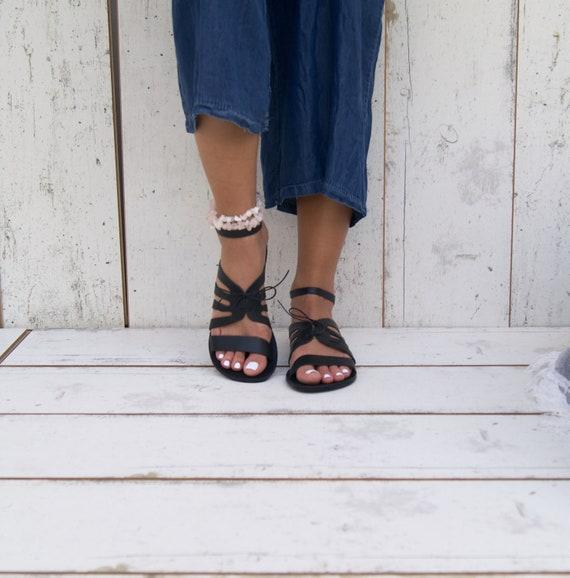 JASSET grec cuir ancient noir lani en Sandales sandales 4xvq4w