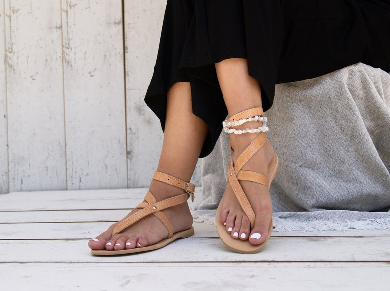 d3e63def2 AGNETE sandals  Greek leather sandals  ankle cuff sandals