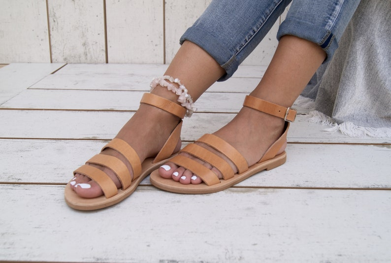 ca60470d242dc Venus sandals/Greek leather sandals/Slip on flat sandals/Open toe gladiator  leather sandals/Handmade in Greece/Natural strappy sandals.