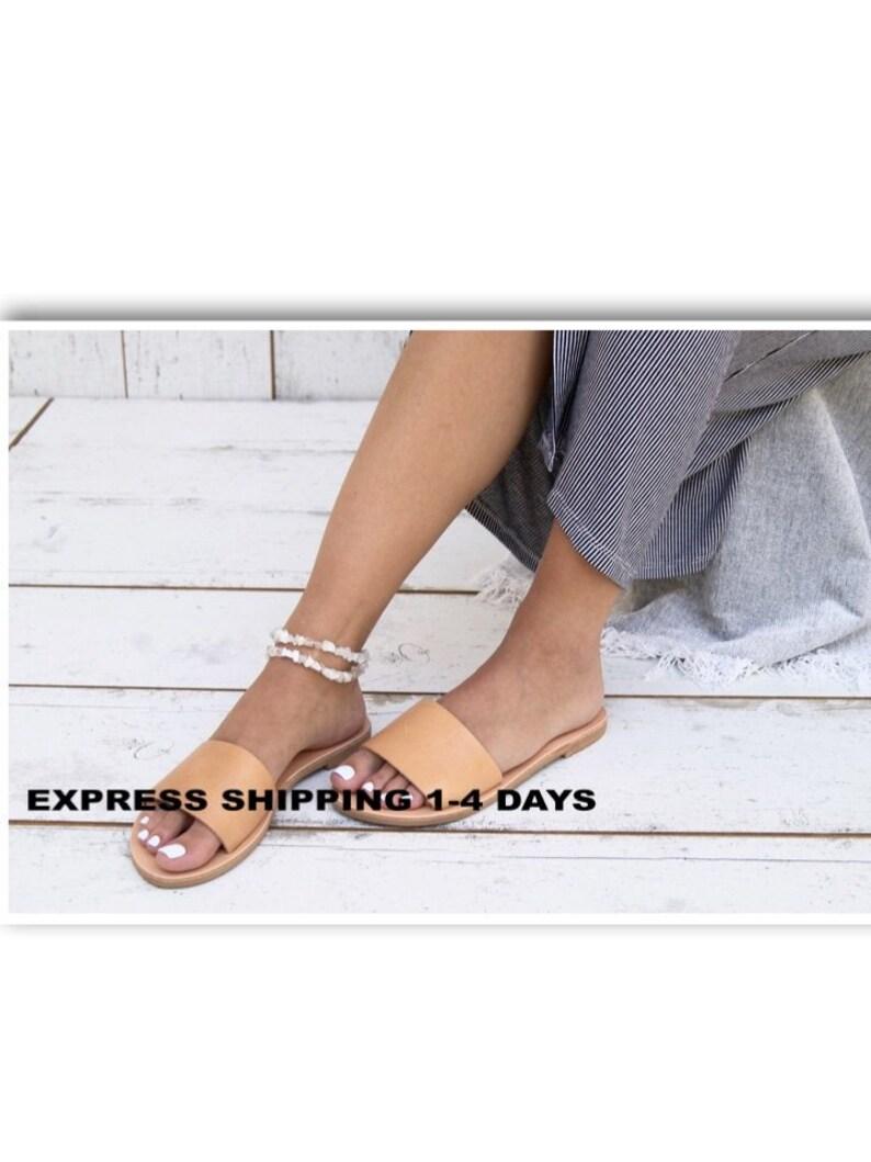 60c911d84fbc Women s Slide Sandals Classic Leather Sandals. Handmade