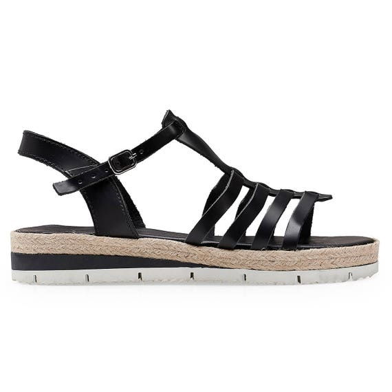 Black leather Espadrilles Ancient sandals sandals CANDY Greek Platform Greek sandals Edition 7xUwBq