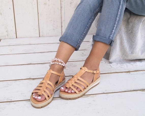 sandals Espadrilles Greek leather Edition sandals Ancient Platform Greek natural sandals CANDY gHaRvxnqa