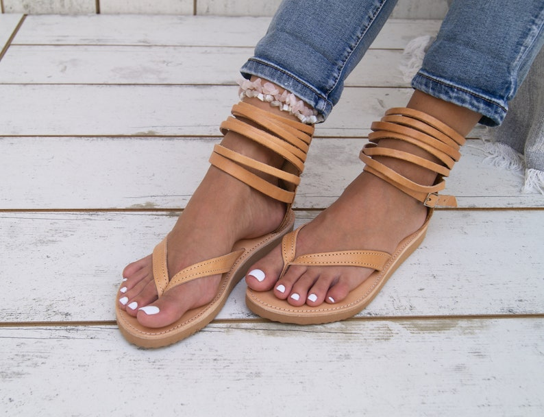 803c1f2bc8e07 KARIA leather sandals/Greek leather sandals/gladiator sandals/anklet  sandals/handmade thong sandals