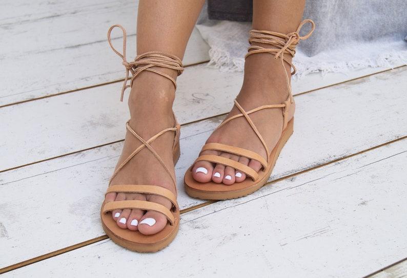ARIADNE ancient Greek leather sandals strappy sandals roman sandals women flat sandals classic leather sandals handmade sandals