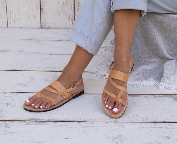grec cuir sandales cuff antique thong Sandales grec sandals FEDORA appartements en sandales sandales cheville grecques sandales naturel main qEI6E