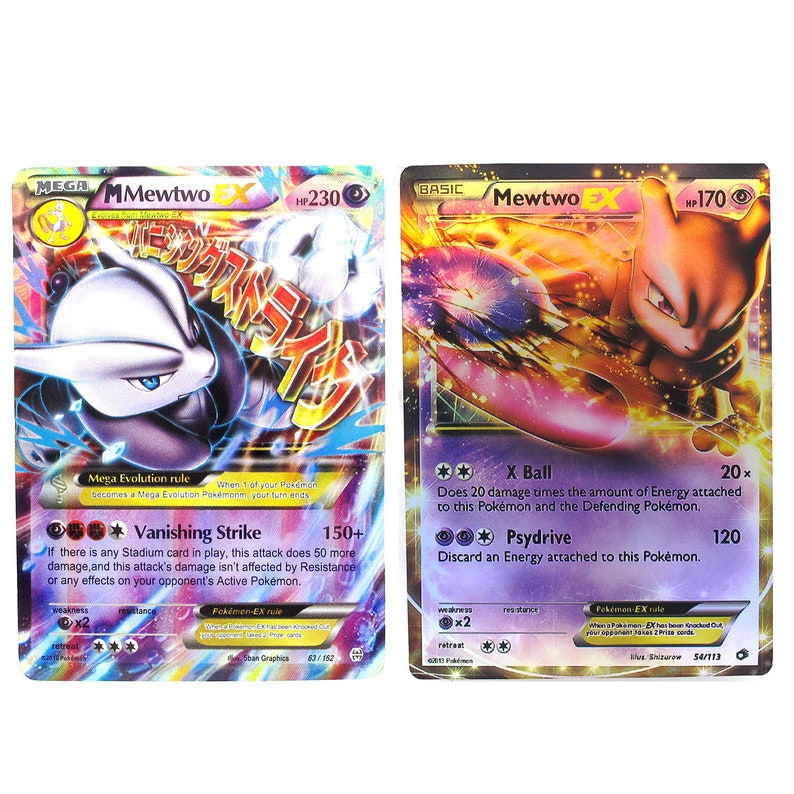graphic relating to Printable Pokemon Cards Mega Ex named Pokemon Card MewTwo Mega EX EX Do-it-yourself Card 2 Versions Selectable Paper Card or Plastic Card
