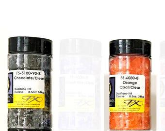 Uroboros COE 90 DualTone Frit. COARSE Glass Frit. Fusing Supplies. Full 8.5 ounce Jars. Many Colors. Glass Supplies. Glass Frit Powder Blend