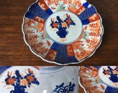Antique Japanese Meiji period imari scalloped edged plate - 8.5 quot