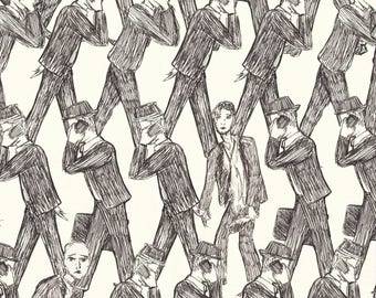 men in suits illustration poster