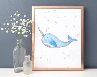Narwhal watercolour print, Narwhal birthday gift, Under the sea art, Gift for sea lover, Unicorn of the sea, Ocean marine decor
