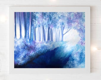 Forest print, Gift for her, Gift for him, New home gift, Abstract print, Trees print, Forest wall art.