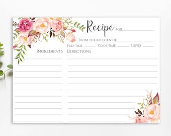 recipe cards 5x7 etsy