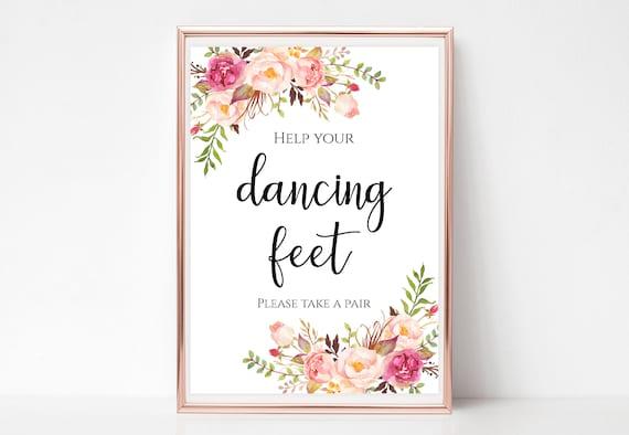 2bdd41056 Help your dancing feet sign Wedding party flip flops signage