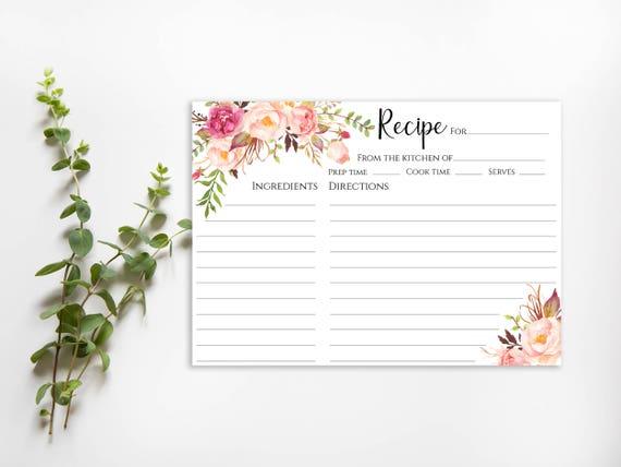 Printable Recipe Card Bridal Shower Recipe Card PDF Instant Download Recipe Card Printable 4x6 Recipe Card DIY Recipe Cards