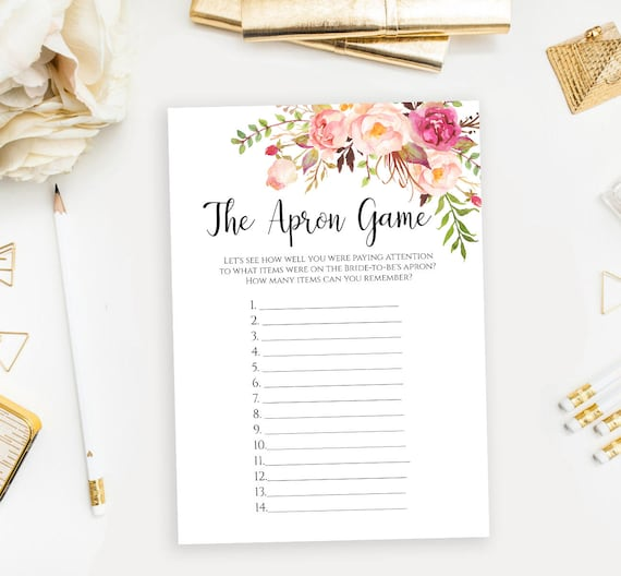 floral the apron game template bridal shower printable memory etsy