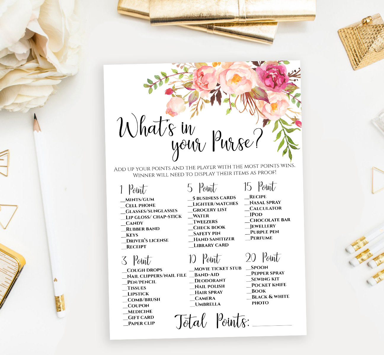 This is a graphic of Stupendous Bridal Shower Purse Game Printable