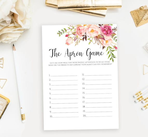 The Apron Game Printable Template Floral Bridal Shower