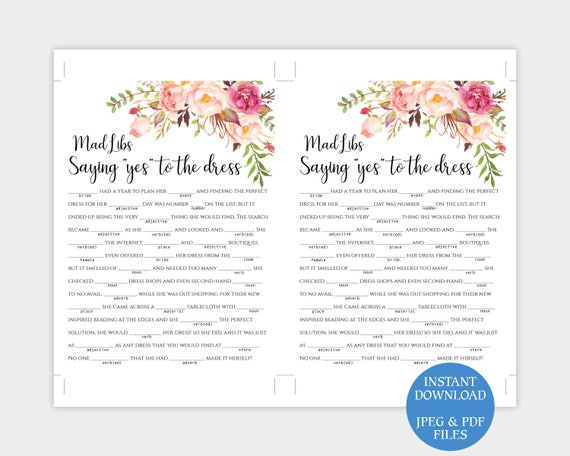 bridal shower mad libs game saying yes to the dress engagement party madlibs diy custom story