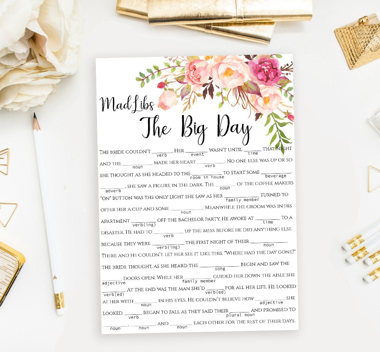 image relating to Free Printable Wedding Mad Libs Template identified as Descargar PDF Wedding day Crazy Libs Tale Activity Printable Humorous