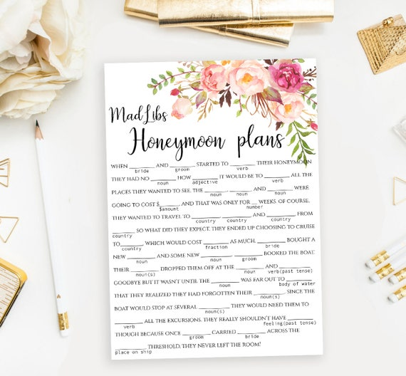 Printable Mad Libs Game Funny Bridal Shower Mad Lib Template