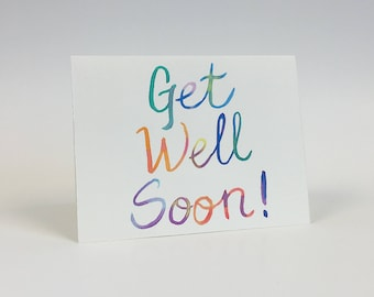 Get Well Soon Hand Painted Greeting Card