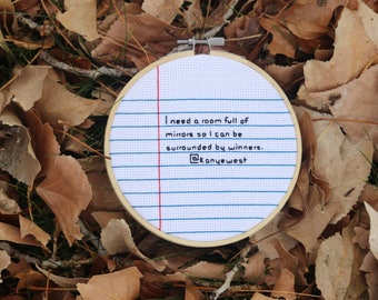 Custom Cross Stitch Message (Lined Paper Design)