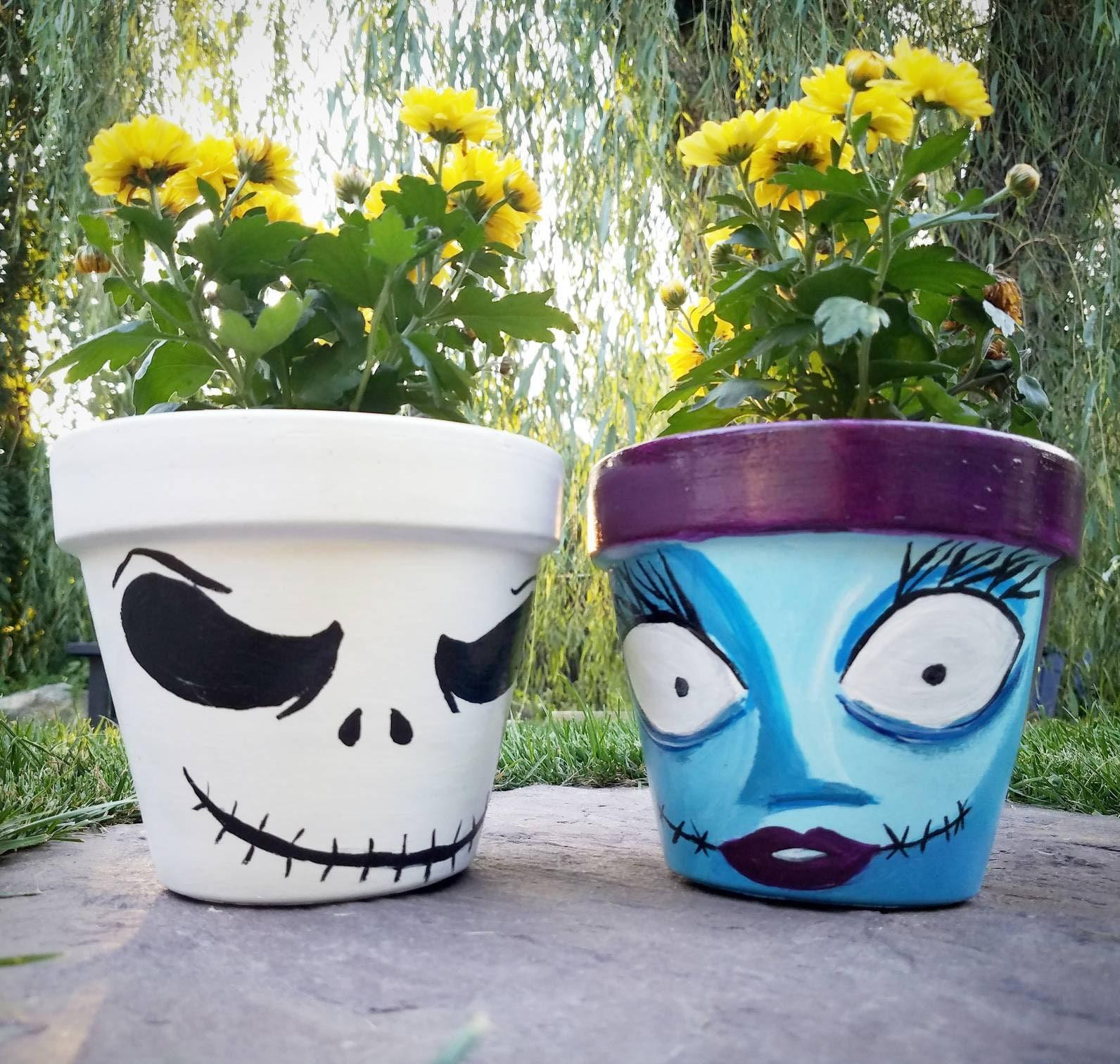 Hand bemalt Alptraum vor Weihnachten Halloween Blumentöpfe | Etsy